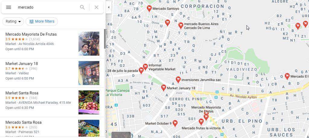 nuevos resultados de mercados en Google Maps