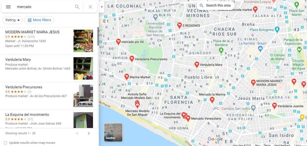 resultados en Google Maps de mercados