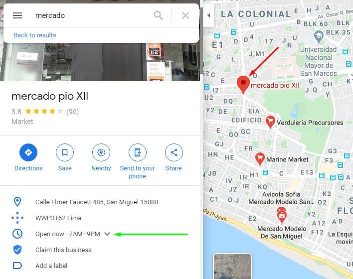 Selección de mercado en Google Maps